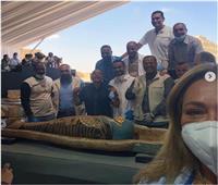 تعليق ليلى علوي على حضورها الكشف الأثري بسقارة