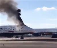 فيديو| اشتعال حريق بطائرة بوينج 747 في مطار إسباني