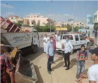 رفع إشغالات المحال والباعة الجائلين بمدينة الشروق