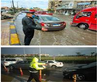 تواجد مكثف لرجال الشرطة لمساعدة المواطنين ومواجهة الأمطار  صور
