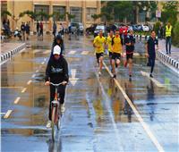 مارثون رياضي تحت الأمطار في المنصورة