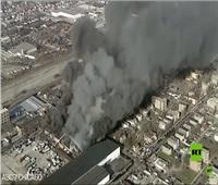 حريق هائل في مستودع لقطع غيار السيارات بالولايات المتحدة فيديو