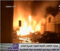 أول لقطات لحريق مخزن البضائع بميناء الإسكندرية.. فيديو