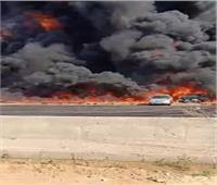تفاصيل حريق هائل في سيارة مواد بترولية بطريق القاهرة السويس