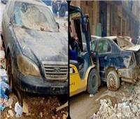 حملة إشغالات ورفع سيارات متهالكة في العمرانية بالجيزة