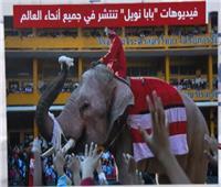 بابا نويل في تايلاند «فيل» يوزع الكمامات