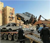رفع السيارات المتهالكة بحي الزهور في بورسعيد