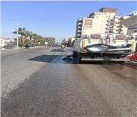 حملة نظافة مكبرة وغسيل الأرصفة بشوارع حي جنوب مدينة الأقصر