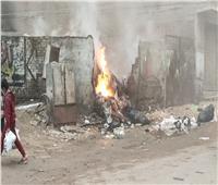 إخماد حريق اندلع بمخالفات داخل أرض فضاء بفيصل | صورة