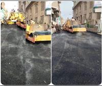 رصف الطبقة السطحية بشارع البهواشي بمدينة أوسيم