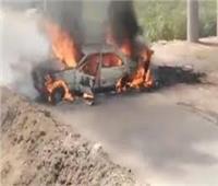 اشتعال النيران في سيارة ملاكي بصحراوي قنا وإصابة قائدها