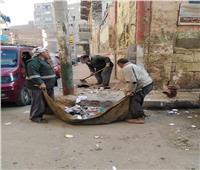 رفع 50 طن قمامة وإزالة مخلفات من إحياء وقرى المنيا.. صور