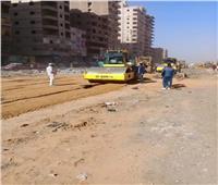 استمرار أعمال تطوير شارع أحمد عرابي بشبرا الخيمة لتسهيل الحركة المرورية