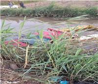 سقوط سيارة ربع نقل في ترعة المشارقة ببني سويف