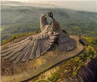 مساحتها 1400 متر .. أكبر «منحوتة» طائر يقف على صخرة مهيبة | صور