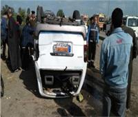 إصابة 4 أشخاص في حادث إنقلاب سيارة ميكروباص في بني سويف