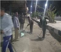 حملة نظافة مكبرة بموقف حنطور بارك بمعبد الكرنك بالأقصر
