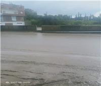سقوط عامود كهرباء بطريق «سمنود السريع» بسبب الأمطار في الغربية