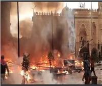 «أمن القاهرة» يسيطر على حريق بجوار مسجد السيدة زينب  صور