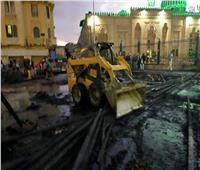 المشاهد الأولى من السيطرة على حريق بجوار مسجد السيدة زينب