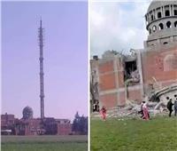 انهيار مئذنة مسجد تحت الإنشاء بسبب الطقس السيء بالدقهلية