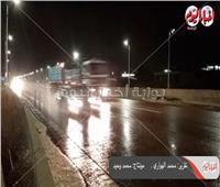 أمطار غزيرةعلى طريق القاهرة- مطروح.. وإرشادات مرورية لقائدى السيارات