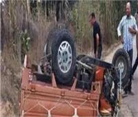 إصابة 5 أشخاص في حادث انقلاب تروسيكل بـ الحامول