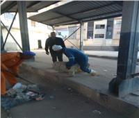 حملة نظافة بموقف الغروب في المنيا