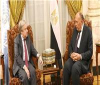 «شكري»يعرب لـ«جوتيريش» عن قلق مصرإزاء تعثر مفاوضات سد النهضة