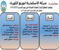 انقطاع الكهرباء عن9 مناطق بالإسكندرية اليوم