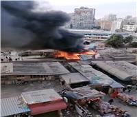 حريق كبير بمحلات مجاورة لمحطة قطار الزقازيق.. فيديو