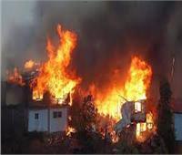 حريق هائل بشونة لتخزين قش الأرز في بسيون
