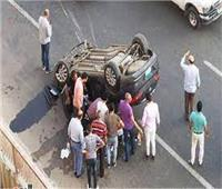 إصابة ١٠ أشخاص باصابات خطيرة في انقلاب سيارة  بالشرقية
