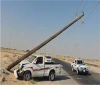 تصادم سيارة نقل بعمود كهرباء بقها بالقليوبية ونقل المصابين للمستشفى