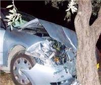 مصرع وإصابة 4 أشخاص إثر تصادم سيارة ملاكي بشجرة في البحيرة