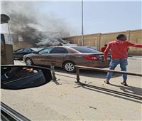 تفحم كابينة سيارة نقل في حريق أمام دار الإفتاءبصلاح سالم  صور