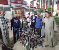 ضبط 29 «شيشة» من المقاهي في حملة رقابية بمركز منفلوط في أسيوط