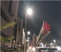 رفع كفاءة الإضاءة بمنطقة جانيوتي وحجر النواتية بشرق الإسكندرية