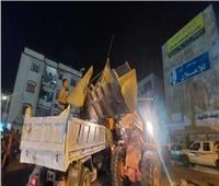 حملة مسائية لرفع الإشغالات لمواجهة ظاهرة الباعة الجائلين بمدينة العبور