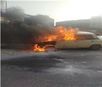 حريق سيارة على كوبري المعرض بطنطا