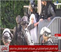 لحظة اعتداء قوات الاحتلال على شابة فلسطينية بمحيط القدس   فيديو