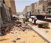 رصف شارع الزعيم السادات بالطالبية في الجيزة