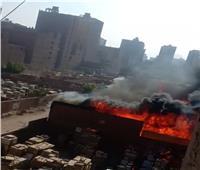 12 سيارة إطفاء للسيطرة على حريق مخزن خشب بالجيزة