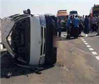 إصابة 8 أشخاص في انقلاب سيارة ميكروباص بالطريق الزراعي في المنيا
