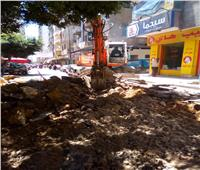 إصلاح هبوط أرضي بشارع راغب غرب الإسكندرية| صور