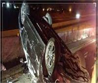 إصابة سائق سيارة بعد انقلابها أعلىالطريق الدائري بـ«البساتين»