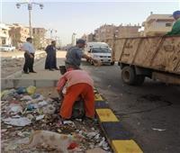 رفع تراكمات القمامة من شوارع مدينة الشهداء .. صور