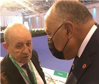 وزير الخارجية ونظيره الفرنسي يبحثان قضية سد النهضة ومكافحة الإرهاب