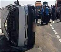 مصرع وإصابة ١٠ أشخاص فى انقلاب سيارة أجرة بالطريق الزراعى بكفر الدوار