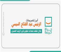 أبرز تصريحات الرئيس  السيسي خلال تفقده معدات تطوير قرى الريف المصرى.. إنفوجراف